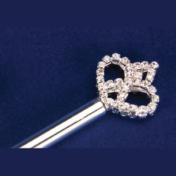 11.5in Long Crown Silver Rhinestone Mini Scepter