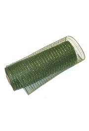 10in Wide x 30ft Long Poly Mesh Roll: Metallic Dark Green/ Mose