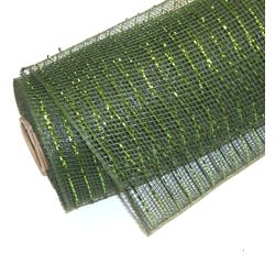 10in Wide x 30ft Long Poly Mesh Roll: Metallic Dark Green/ Mose