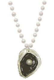 36in Long 10mm White Pearl Necklace with Oyster Medallion