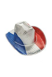 We have Patriotic Hats for everyone! We carry a Red Sequin Fedora, and red white and blue Cowboy Hat, a white Derby Hat...