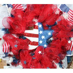 Patriotic Mesh Ribbon Square Wreath