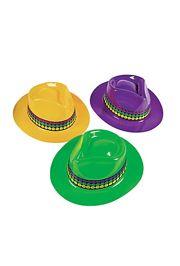 Plastic Mardi Gras Gangster Hats