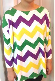 Mardi Gras Long Sleeve Bamboo T-Shirts Size Small