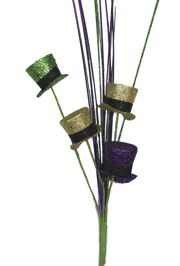 26in Long Mardi Gras Spray w/ Top Hats and Onion Grass