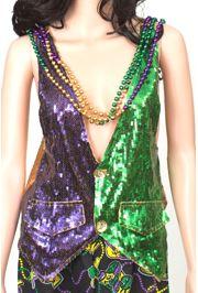 Mardi Gras Sequin Vest Size XLarge