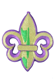 18in Tall Glittered Purple/ Green/ Gold Fleur-De-Lis Plaque