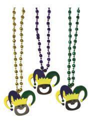 36in Mardi Gras Jester Bottle Opener Necklace