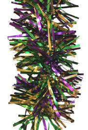 7in Wide x 9ft Long Mardi Gras Tinsel Garland