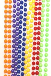 33in 7mm Round Rainbow Non-metallic Assorted Colors Mardi Gras Beads
