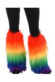 Rainbow Colors Fluffy Leg Warmers