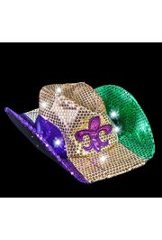 Light-up Mardi Gras Cowboy Hat