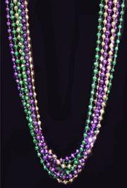 48in 7mm Disco Ball/ Faceted Metallic Purple/ Green/ Gold Mardi Gras Throw Beads