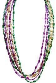33in 23mm Purple/ Green/ Gold Twist/ Swirl Throw Beads