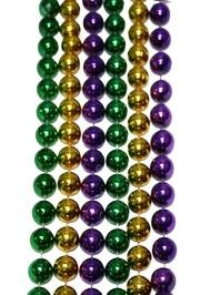48in 16mm Round Metallic Purple/ Green/ Gold Throw Beads