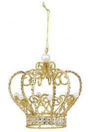 Gold Metallic Wire Pearl Crown Ornament w/ White Pearl Accents