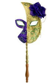 Mardi Gras Half Glitter Mask in Gold and Purple w/Flower On The Side w/Stick