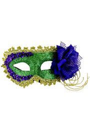 Mardi Gras Mask w/ Sequins and Flower Accents On The Side