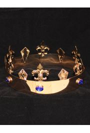 Gold King Crown w/ Fleur de lis design and blue rhinestones