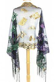 Mardi Gras Party Theme Sequin Fringe Scarf w/ Masks Design