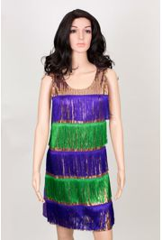 Mardi Gras Sequin Dress w/ Fringe Size Large