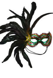 Sequin Masquerade Mask with Feathers On A Side