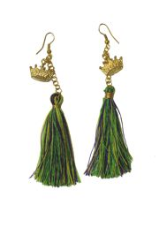 4in Long Tassel Earrings with Mardi Gras Crown Charms