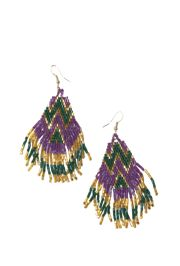 2.5in Beaded Mardi Gras Earrings