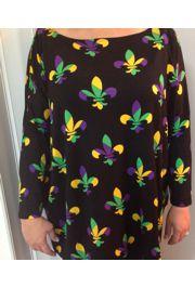 Mardi Gras Long Sleeve Bamboo T-Shirts w/Fleur de Lis Design Size Small