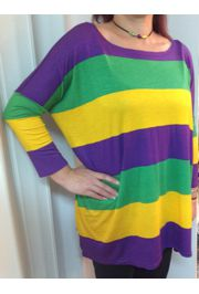 Mardi Gras Long Sleeve Bamboo Striped T-Shirts Size Large