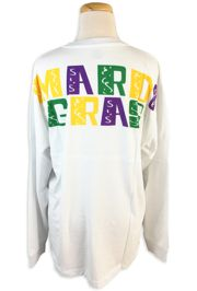 e76b8788 Mardi Gras Long Sleeve White Spirit T-Shirts w/Pocket and Fleur de Lis  Design Size Medium