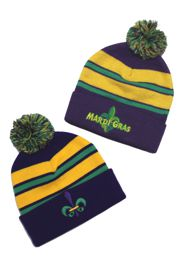 Mardi Gras Striped Beanie/ Hat w/ Fleur de lis and Mardi Gras Embroidery Designs