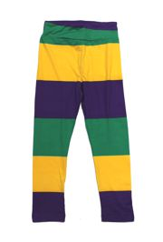 Mardi Gras Striped Kids Leggings Size Small
