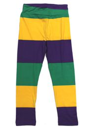 Mardi Gras Striped Kids Leggings Size Large