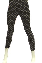 Black Leggings w/ Fleur de Lis Design