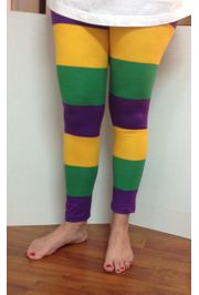Mardi Gras Wide Striped Leggings