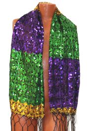 Mardi Gras Sequin Circle Fringe Oblong Scarf/ Shawl with Fringe
