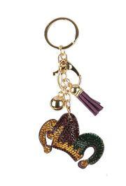 Mardi Gras Jester Hat Crystal Tassel Key Chain