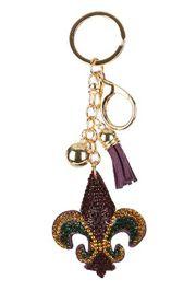 Mardi Gras Fleur De Lis Crystal Tassel Key Chain