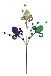 23in Tall Mardi Gras Stem/ Pick with Fleur de Lis