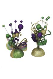 13.5in Mardi Gras Centerpiece with Mesh Ribbon and Glitter Balls Stems