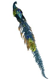 20in Long x 4in Wide Turquoise/ Gold Glittered Plastic Peacock w/ Clip