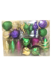 Assorted Sizes and Shapes Mardi Gras Ornaments