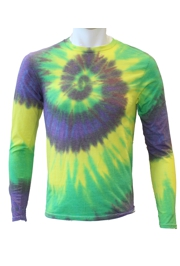 Mardi Gras Long Sleeve Tie Dye T-Shirt Size Medium