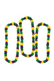 36in Plastic Mardi Gras Tri-Color Leis: Purple/ Green/ Gold