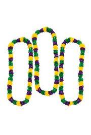 36in Plastic Mardi Gras Tri-Color Leis: Purple/ Green/ Gold