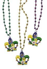 38in 10mm Disco Ball Metallic Purple/ Green/ Gold Mardi Gras Beads w/ Jester Face Medallion