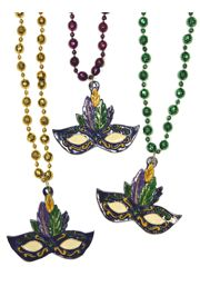 38in 10mm Disco Ball Metallic Purple/ Green/ Gold Mardi Gras Beads w/ Mask Medallion