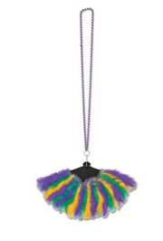 Mardi Gras Necklace with Feather Fan