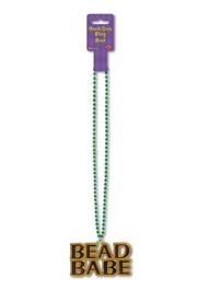 36in Long Mardi Gras Bead w/ Bead Babe Medallion